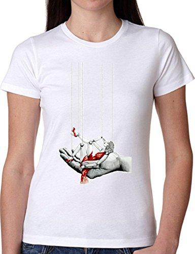 T SHIRT JODE GIRL GGG22 Z1750 MARIONETTE PUPPET RED DRESS FUN LIFESTYLE FASHION COOL BIANCA - WHITE