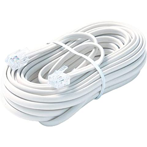 Steren 50' White 6-Conductor Telephone Line