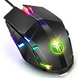 Wired Gaming Maus, Fnova RGB Gamer Mouse, 4000 DPI Einstellung, Ergonomisches Professionelle Optische USB Maus, Hohen Präzision LED Mäuse für PC Mac Laptop Office Home