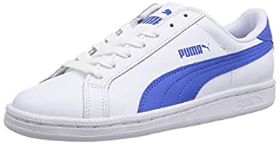 Puma Men's Puma Smash L White-Strong Blue Leather Sneakers - 3 UK/India (35.5 EU)