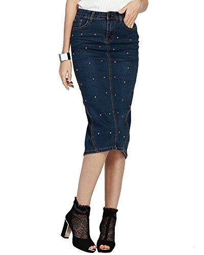 Donne Gonna Tubino Gonne Jeans Lunghe Vestiti Eleganti Collant Wrap