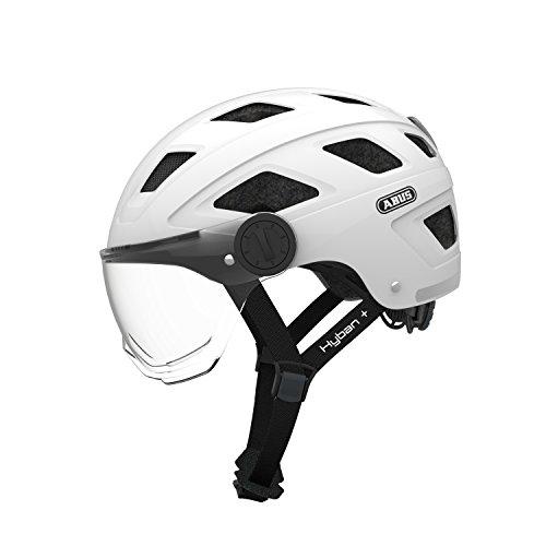 Abus Erwachsene Hyban + Fahrradhelm, White Cream-Clear Viso, L (56-63 cm)