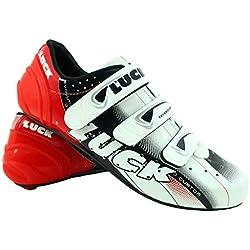 LUCK Zapatillas de Ciclismo EVO, para Carretera, con Suela de Carbono,Muy rigida y Ligera y Triple Tira de Velcro. (45 EU)