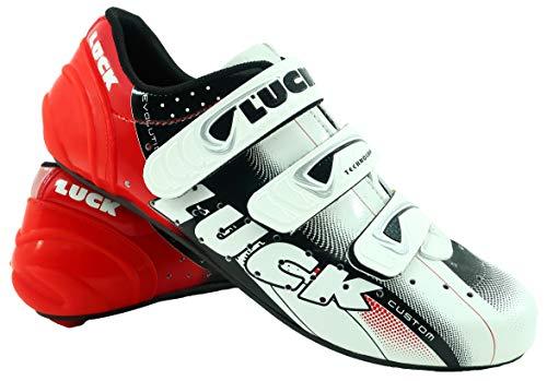 LUCK Zapatillas de Ciclismo EVO, para Carretera, con Suela de Carbono,Muy rigida y Ligera y Triple Tira de Velcro. (41 EU)