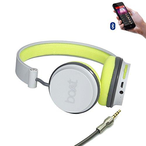 Boat Super Bass Rockerz 400 Bluetooth On-Ear Headphones with Mic (Grey/Green)