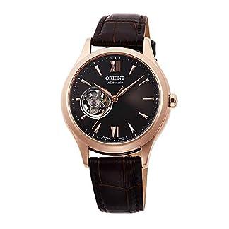 Orient RA-AG0023Y – Reloj de Pulsera para Mujer, diseño de corazón Abierto, Color Oro Rosa y Esfera marrón