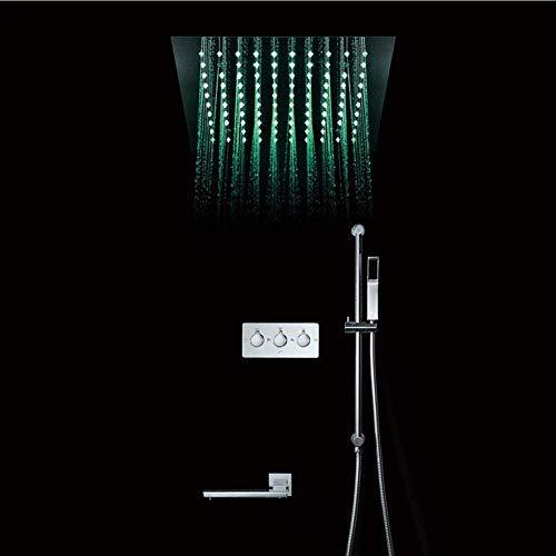 HUASHASHA Duschset – Verdecktes Duschset – Heiße und kalte Wand – DREI Funktionen – 64 Farb-LED-Dusche