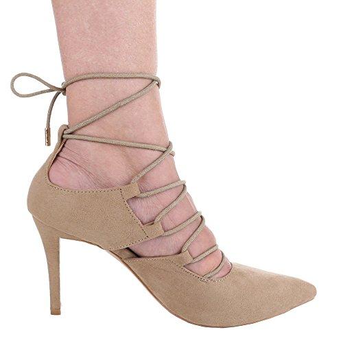 Damen-Schuhe Pumps   Frauen High Heels mit 9 cm Stiletto-Absatz in verschiedenen Farben und Größen   Schuhcity24   mit Schnürung Beige