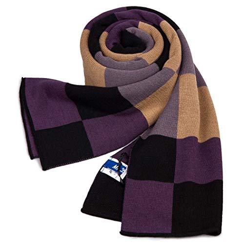 MISS&YG Herbst Und Winter Plaid Schal Männer High-End Warmen Schal Imitation Wolle Dicken Plaid Schal,Purple -