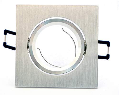 pianeta-led Portaf Aretto carré en aluminium poli satiné/support réglable à encastrer Réflecteur 50 mm avec douille GU10