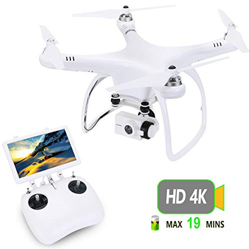 UPair Drohne mit 4K HD Kamera, RC Quadrocopter 5.8G FPV Liveübertragung mit 120° Aufnahmewinkel, GPS/Optisches Flusspositionierungssystem, Flugplananpassung, One Key Return, Ideal für Anfänger -
