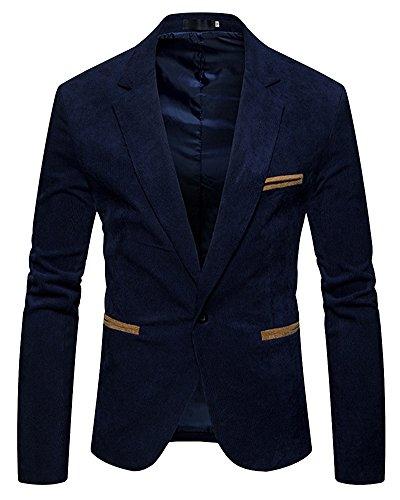 Slim Fit Herren Sakko Casual Elegant Blazer Jacke Hochzeit Party Marine XL