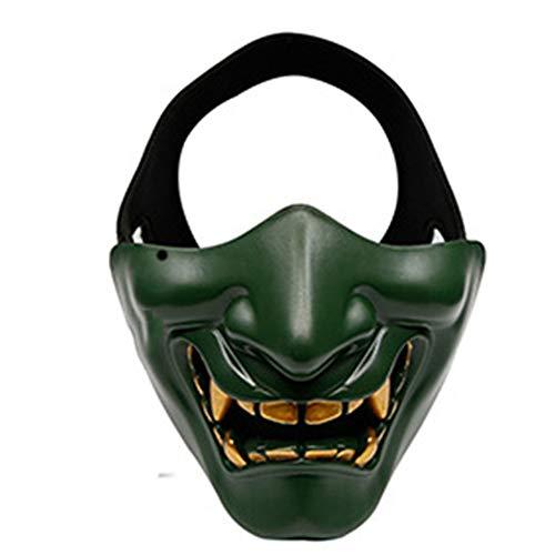 Fun Holi-day Supplies Halloween Spielzeug Maske Japanischer Geist Prajna Halbes Gesicht Dämon Cosplay Spukhaus Unfug Maskerade,Green