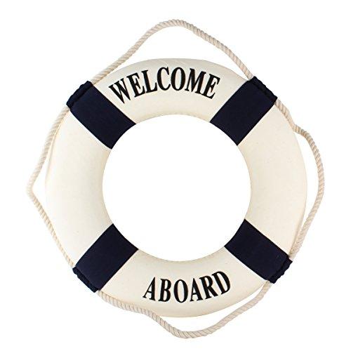 UniqueBella Maritime Rettungsring Welcome on Board Schwimmring Deko Blau
