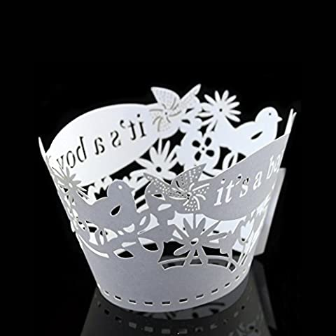 BITFLY 100pcs it's a boy Bird Coupe au laser Cupcake en filigrane Wrapper Liner Coupe de boulangerie Muffin Case Trays Décoration de fête d'anniversaire de mariage 12 couleurs disponibles - blanc
