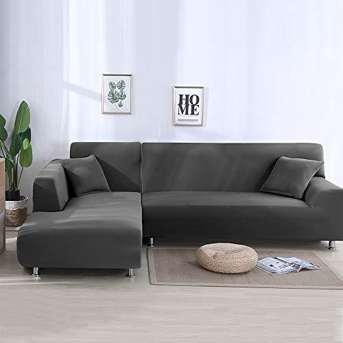 PandaHug Sofabezug L-Form Sofa-Schonbezug Haustier Schutz Anti-Rutsch Fleckenabweisend Maschinenwäsche Möbelschutz Moderne Ecksofa Überzüge, grau, Three Seaters+Three Seaters
