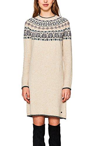 edc by ESPRIT Damen Kleid 107CC1E030 Weiß (Off White 110), Small