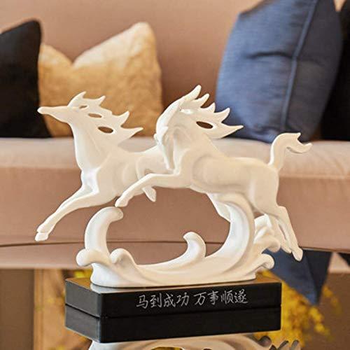 qingtianlove Harz Skulptur - White Horse Statue 31x10x23.5cm / 12.2x4x9.3inches - Büro Dekoration Eröffnung Werbegeschenke Wohnzimmer Kunst Schlafzimmer