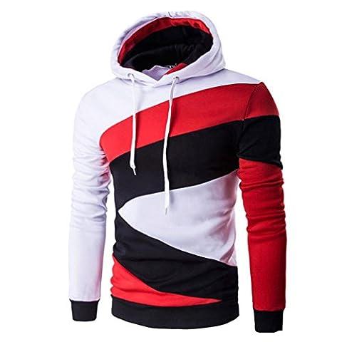 Tonsee Homme Retro Sweat-shirt à capuche manches longues Tops veste manteau Outwear (XXL, Blanc)