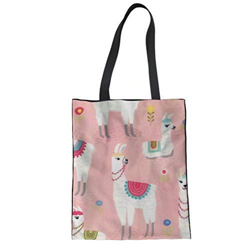 POLERO Einkaufstasche Große Handtasche Wiederverwendbare Einkaufsbeutel Shopper Bag Umweltfreundliche Taschen mit Alpaka Print für Mädchen Damen Große Kapazität - Print Große Shopper-handtasche