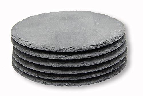 écran/Kit de Belle Lot de 6plateaux en ardoise rond 20x 20cm, Assiette ardoise Décoration Dessous de Plats Plateau à Fromage Buffet