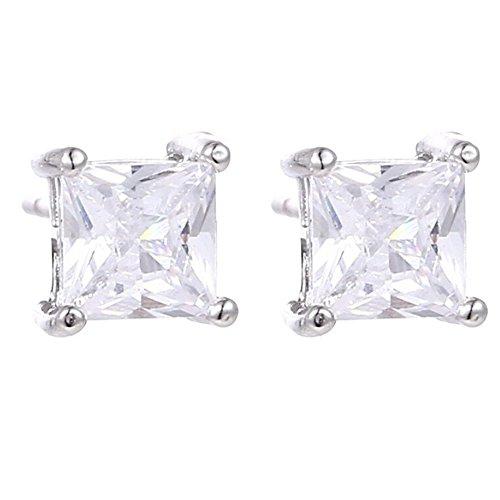 Amesii donna orecchini in argento Sterling 925, zirconia cubica trasparente orecchini