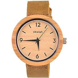 okwish mujeres hombres Casual Piel Banda Reloj de pulsera cuarzo vestido watcth con caja, madera, marrón, Mujer