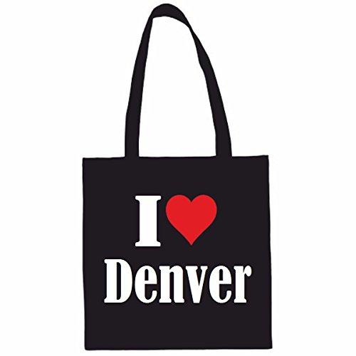 Sac à Bandoulière I Love Denver Shopping Bag Sac d'école Sac de Sport 38x 42cm en Noir ou Blanc.. Le cadeau parfait pour votre amoureux