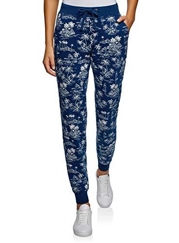 oodji Ultra Damen Jersey-Hose mit Bindebändern, Blau, DE 38 / EU 40 / M