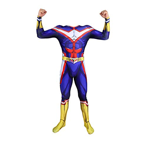 Kind Erwachsener Superhelden All·Might Kostüm Cosplay Halloween Onesies Mottoparty Karneval 3D Druck Spandex Strumpfhosen,Adult-XL