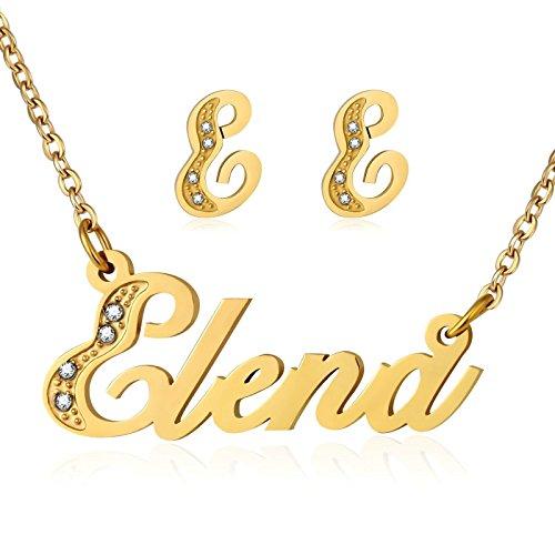 Gnzoe Damen Schmuck-Set Edelstahl Ohrringe Großbuchstabe Name Halskette Elena Englisch Wort Anhänger Gold