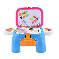 Si tratta di una bella e molto facile da trasportare Kit di attività della scuola per i bambini che include molti accessori: scrivania, magneti colorati di lettere, numeri e simboli matematici, lavagna magnetica bianca, penne di lavagna, ades...