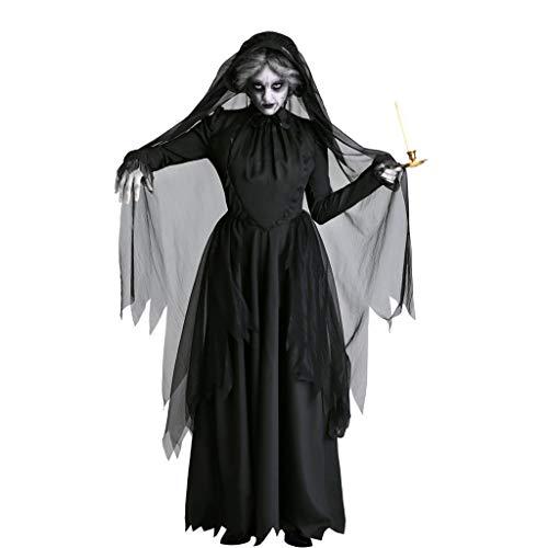 Schwarz Braut Kostüm Tote - LGP Adult Horror Female Ghost Bride Kostüm - Creepy Horror Dark Black Vampire Hexe Bühnenkostüm - Perfekt für Halloween & Karneval - 3 Verschiedene Größen,XL