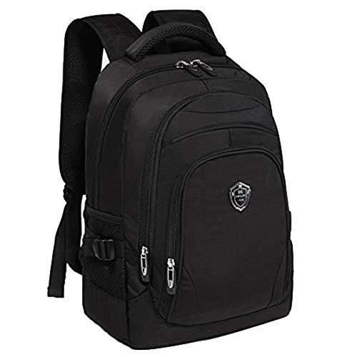 Hsug 4-6 Klasse Junior Schultasche Jungen Lässig Schulrucksack Groß Oxford Tuch Backpack Outdoor Reise Schulranzen Mit USB (Schwarz)