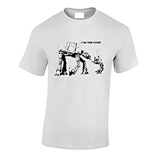 Crown Designs I Am Your Father at-at & at-ST Walker Sci Fi Movie Film Inspired for Men & Teenagers T-Shirts Tops - White / 3X-Large
