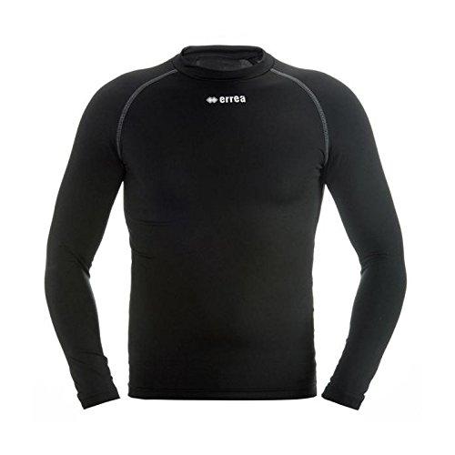 ERMES Funktionsshirt mit geringer Kompression (langarm) ideal zum Training beim Fußball, Running, Football, Rugby, Hockey u.v.m. · KINDER Jungen & Mädchen Unterziehshirt (Kompressionsshirt) aus Polyester-Stoff für Individual- & Teamsport von Erreà (schwarz, XXS/XS)