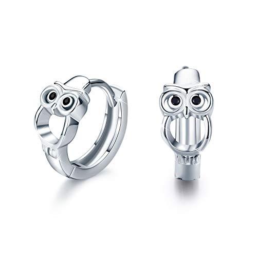 Eule Ohrringe für Mädchen, 925 Sterling Silber Creolen Ohrringe Kleine Creolen Kreis Ohrringe Schmuck für Damen Muttertagsgesche Hochzeits Jubiläums Geschenke für Mädchen Mama Frauen