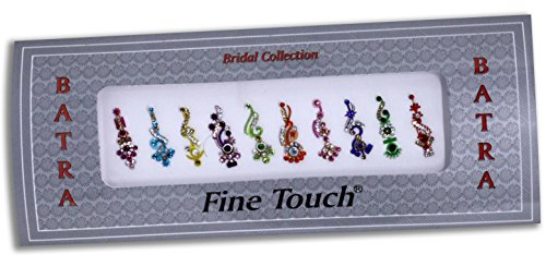 10 Bollywood Designer Bindis Premium Crystal Jewels Mettallic Bindi Stickers Tattoos Forehead Tika