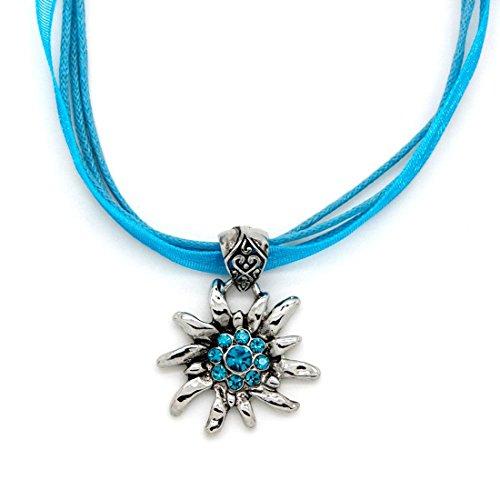 EROSPA® Oktoberfest Hals-Kette mit Silbernen Edelweiss-Anhänger Strass Damen Schmuck Dirndl Trachtenmode Wiesn Blau
