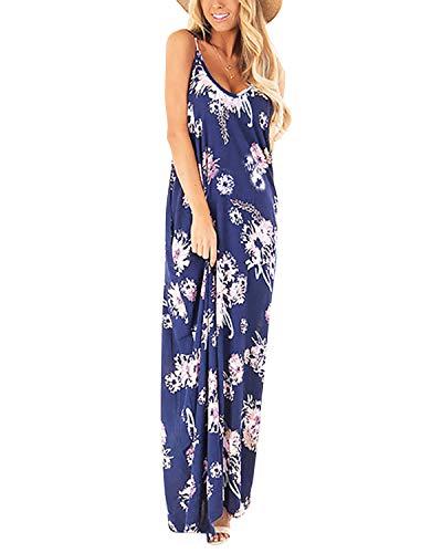 ACHIOOWA Maxikleid Damen V Ausschnitt ?rmellos Casual Gestreift Lange Sommer Strand Kleider Blau Blumen-C11748 EU 38 (Gestreifte Maxi Kleider)