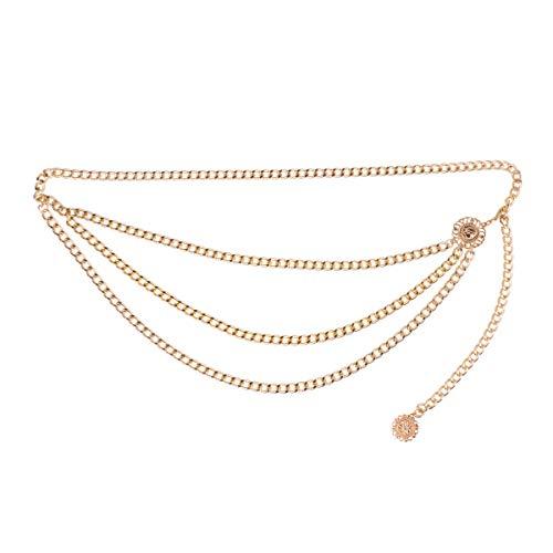 Agoky Damen Vintage Gürtel Metall Taille Kette Gürtel mit Münze Quaste Anhänger Tanzen Fransen Körper Kette modische Accessoires Gold One ()