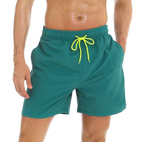 anqier Badeshorts für Männer Badehose für Herren Jungen Schnelltrocknend Schwimmhose Strand Shorts (Dunkelgrün, L(EU)-MarkeGröße:XXL-Taille 88-98cm)