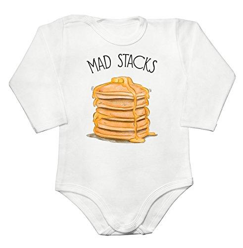 Finest Prints Mad Stacks American Pancakes Baby Long Sleeve Romper Bodysuit Babyspielanzug Extra Large -
