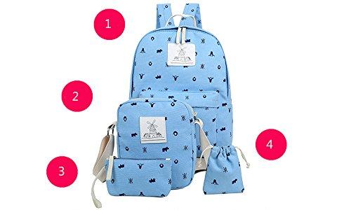 Minetom 4 Pezzi Clutch Bag Messenger Piccole Tasche Tela Borsa Zainetto Donna Spalla Zaini Scuola Superiore Zainetti Ragazze Verde
