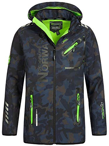 Geographical Norway Herren Softshell Outdoor Jacke Rainman/Royaute Camo Turbo-Dry Kapuze Navy/Green XL Camo Parka