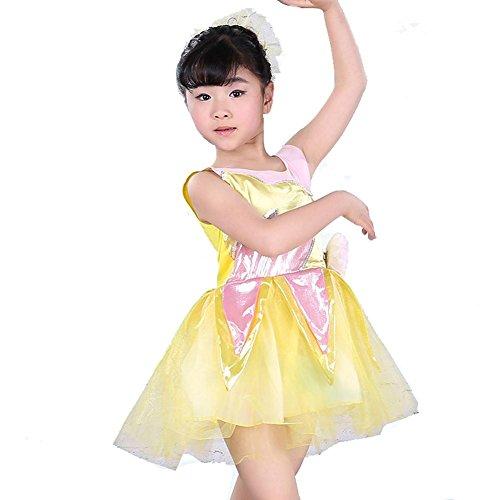 Wgwioo Kinder Tanz Performance Bühne Kleidung Blätter Garn Rock Umwelt Mode Show Kostüme Studenten Chor Partei Gruppe, Yellow, 150Cm (Kinder Show Chor Kostüm)