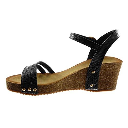 Angkorly Chaussure Mode Sandale Mule Lanière Cheville Plateforme Femme Multi-Bride Croco Clouté Talon Compensé Plateforme 6 cm Noir