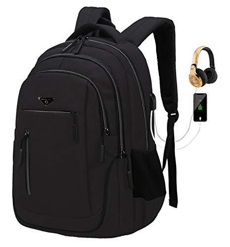 Zaino Porta pc Uomo, Zaino Scuola Media, Zaino Scuola Superiore - Impermeabile con presa per la porta di ricarica USB per laptop da (01 Nero, 15,6 Pollici)