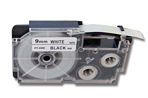 vhbw® Label Tape Kassette Patronen Schriftband 9mm für Casio CW-L300, KL-100E, KL-120, KL-1500, KL-200E, KL-300, KL-60 wie Casio XR-9WE1, XR-9WE.
