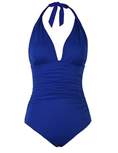 Hilor Damen Retro Badeanzug Tief V Ausschnitt Rückenfrei Neckholder bauchweg Tummy Control bademode Königsblau 44